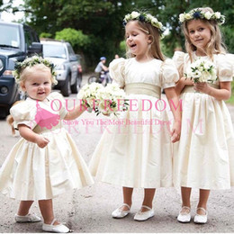 Wholesale Tea Length Puffy Dress Lace - 2018 Lovely Princess A Line Flower Girls Dresses With Puffy Short Sleeve Tea Leagth First Communions Dresses For Garden Church Wedding Custo