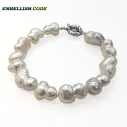 Wholesale baroque pearls bracelets - selling well bracelet Baroque style Irregular Peanut shape real freshwater pearls bangle with knots white fine jewelry Special