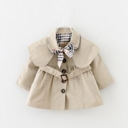 Куртки для девочек онлайн-Baby Toddler Девушки Тенч Пальто Весна Отворот Пояс Ветровка Пальто Верхняя Одежда Детская Куртка Одежда