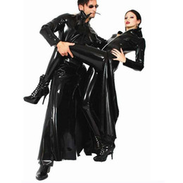 Pelle esotica online-Sexy Black PVC Dress Costumi di Halloween Exotic Dancewear Donne Erotic Faux Leather Latex Catsuit Club Wear Costume Sex Teddies