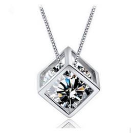 Wholesale sterling silver small pendants - wholesale Real S925 Sterling silver Purple crystal small square shape Women girls gift necklace Wedding Jewelry