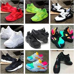 7b7f8316b25af baskets filles taille 2.5 Promotion 350 Air Huarache Classique Blanc Noir  Huarache Chaussures Grands Enfants Garçons