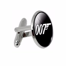gemelli lampeggianti Sconti Gemelli placcati argento FT-CK Fashion Classic Bond 007 Gemelli in vetro fantasia Gemelli da uomo di qualità