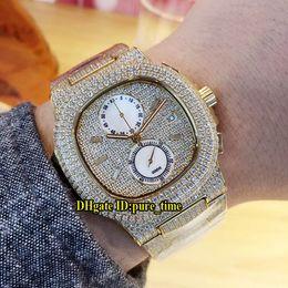 Gelbgold saphir armbänder online-Beat Edition Nautilus 5990/1 Gelbgoldgehäuse All Diamond Miyota Quartz Chronograph Herrenuhr Stoppuhr Sapphire Diamond Bracelet