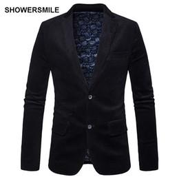 Traje de pana slim fit para hombre online-SHOWERSMILE Estilo británico Chaqueta de pana negra Trajes y chaquetas de otoño de los hombres Slim Fit Dos botones Casual Blazers Ropa para hombre
