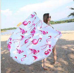 Wholesale Yoga Mat Microfiber Towel - FLAMINGO Round Beach Towel With Tassels Microfiber Beach Picnic Blanket Yoga Mat 150cm Picnic Blanket Beach Cover Up KKA4125