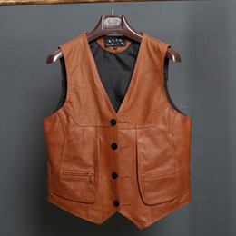 Wholesale Mens Brown V Neck Vest - New Arrival Leather Motorcycle Vest Biker Vests Mens Slim Fit Real Brown Cow Genuine Leather Waistcoat Size L-8XL