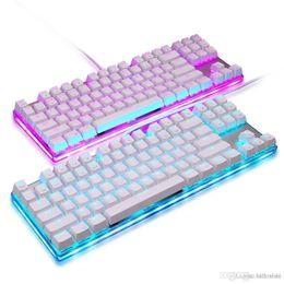 2020 schalttastatur Tastaturen Motospeed K87S Mechanische Gaming-Tastatur Unterstützt RGB-Hintergrundbeleuchtung Programmierbare 87 Tasten für PC-Computer Blauer Schalter Weiß TB rabatt schalttastatur