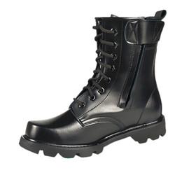 Lacer des bottes de moto hommes en Ligne-Large Size 36-46 Spring Men Military Boots Genuine Leather Steel Toe Shoes Lace Up Black Waterproof Work Boots Men Platform Motorcycle Boot