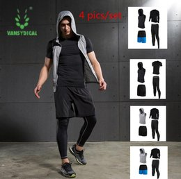 Wholesale Pic Gold - 4 pics set Compression Short Sleeve T Shirt Pants Tights Tracksuit Male Fitness Wicking Gym Training Running Set Men Sport Suits