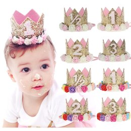 Wholesale Pink Newborn Hats - 1st Baby Girls Birthday Hat Crown Newborn Party Headbands Flower Girls Gold Tiaras Girls Hair Accessory Glitter Baby Newborn Headwrap 2018