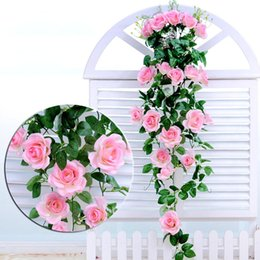 2019 künstliche blumen girlanden großhandel Künstliche Blumen Ivy Vine gefälschte Seide Rosen Home Hochzeit Dekoration hängenden Garland Decor Großhandel günstig künstliche blumen girlanden großhandel