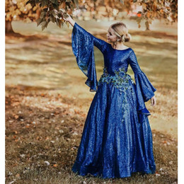 red blue pageant dresses Australia - Vintage Fashion Couture Sequin Gown Red Carpet Dress Royal Blue Applique Long Sleeves Flower Girl Dresses Sparkling Girls Pageant Dress