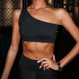 2019 подъемная сила 2018 Новый косой один плечевой ремень женский спортивный бюстгальтер выдалбливают задние линии напряженные упражнения фитнес бюстгальтер топы