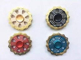 Wholesale Metal Tin Toys - Fidget Spinners Flywheel Hand Spinner Aluminum alloy Fire round chain Wheel Finger toy Gyro Decompression Toys in metal tin