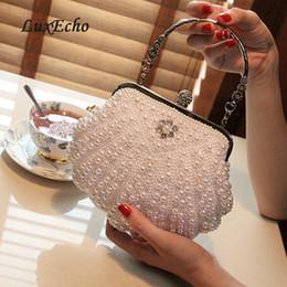 Bolso de perlas de marfil online-Bolso de perlas blanco / marfil bolso de mujer bolso de noche bolso de embrague día pequeño bolso de novia y de damas de honor con asa