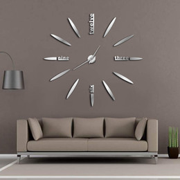 Wholesale big black stickers - Frameless DIY Wall Clock 3D Mirror Wall Clock Large Mute Stickers for Living Room Bedroom Home Decorations Big Time