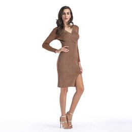 Wholesale knitted long skirt - V Neck Long Sleeve Pencil Skirt Hem Split Knitted Dress Long Hip Skirt Spring Women Dresses