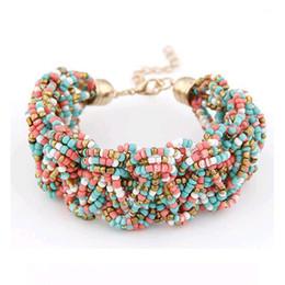 Wholesale Pure Rhodium Jewelry - whole saleFAMSHIN New Bohemia Retro Bracelet For Women Pure Handmade Bead Multicolor Charm Vintage Cuff Bracelets & Bangles Fine Jewelry