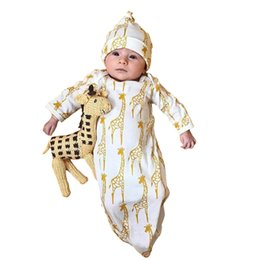 Wholesale Baby Boy Gowns - Newborn Infant Kids Baby Girls Boys Giraffe Pajamas Gown+Hat Outfits Clothes Set kids clothes hot sale
