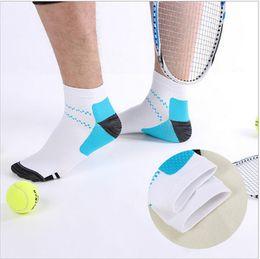 Wholesale Cotton Compression Socks Women - Compression Ankle Socks Anti-Fatigue Anti-microbial Deodorize Sports Socks Men Women High Elastic Screw Short Sock Low-cut Socks Free Ship
