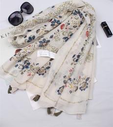 Canada 2018 New gland Bohemian style rétro motif de fleurs imprimer foulard châle femmes de style ethnique grande plage écharpes crème solaire cheap ethnic floral scarves Offre