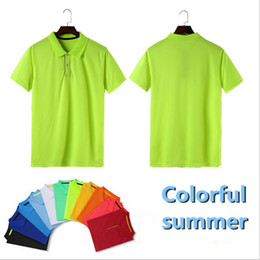 Wholesale Fresh Clothing - Pure color polyester small and fresh lapel POLO shirt, suitable for outdoor sports, also can customize work clothes