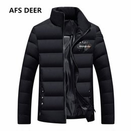 Wholesale Duck Down Jackets For Boys - 2017 Brand Men Winter Jacket for Men Down Jackets Coats Warm Thick Cotton Wadded Jacket Gradient Color Male Big Boy Parka
