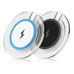 2019 protetor de sobretensão de adaptador universal de viagem Qi carregador sem fio pad branco preto de cristal levou carregador sem fio de luz para samsung s3 s4 s6 s7 borda para iphone 5 6 7