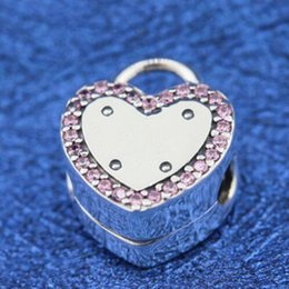 Wholesale Pandora S925 - New 100% S925 Sterling Silver Lock Your Promise Clip Charm Bead Fits European Pandora Jewelry Bracelets and Pendant