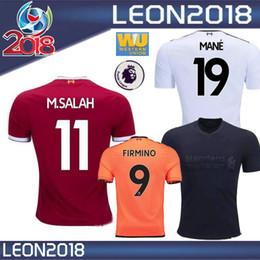 Wholesale Football Gerrard - Thai quality 2018 M.SALAH jersey 17 18 GERRARD MANE FIRMINO VIRGIL LALLANA M SALAH home 3rd black soccer jerseys Football shirt