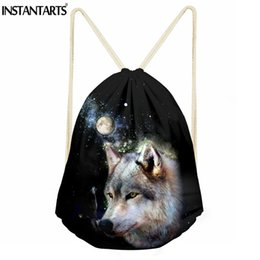 35871d3f06de INSTANTARTS Sport Gym Bag Men Women Animal Wolf Pattern Small Fitness  Drawstring Bag Girls Boys Yoga Swim Shoes Backpack Sack wolf backpacks on  sale