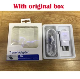 Wholesale Eu Micro Usb Charger Lg - US EU Travel Fast Wall Charger + Original 1.5M Micro Usb Data Cable For Samsung S6 Edge Note 4 5 With Retail Original box
