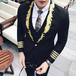 2019 palastanzüge Mode Palace Wind Night Shop Persönlichkeit Männer Slim Suit Bar Spezielle Gestickte Professionelle Blazer günstig palastanzüge