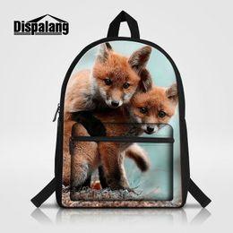 Wholesale Colorful Canvas Backpacks - Men Women Laptop Backpack Colorful Fox Animal Printing Children School Bag Mochila Feminina Cool Bookbags For Teenage Boys Rugtas Travel Bag