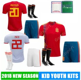 d6b3efd2d 2018 KID Youth kits SPAIN Soccer Jerseys PIQUE Ramos ASENSIO ISCO THIAGO  A.INIESTA SILVA Football Shirt socks hot shorts world cup sy