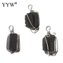 Pietre turmali nere online-Ciondolo tormalina con pendente in pietra nera placcata in lega di zinco perline 17x33x15 -15 .5x34 .5x14 .5mm 10pz