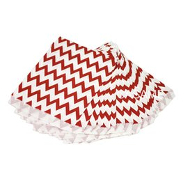 Wholesale Chevron Gift Bags - 25pcs mini chevron Food Grease Proof Paper Bag Wavy Stripes Snack Kids Candy Buffet Favor Gift Wedding Birthday Party Supplies