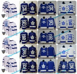 Wholesale Gold Leafs - 2018 AD Toronto Maple Leafs 34 Auston Matthews 16 Mitchell Marner 29 William Nylander 12 Patrick Marleau 31 Andersen Arenas Hockey Jersey