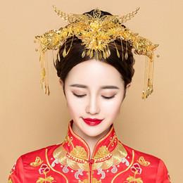 0f934abae1cc Phoenix copricapo gioielli set cinese nuziale copricapo da sposa ornamento  antico capelli bastoni pettine costume da donna fascia a mano