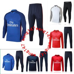 Wholesale Men Sports Suits - 2017 2018 NEYMAR JR paris jacket Sweater MBAPPE soccer chandal football tracksuit adult training suit skinny pants Sports JACKET