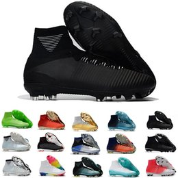 Wholesale Spike Black - Mens mercurial superfly soccer cleats kids high ankle football shoes FG Hypervenom Phantom soccer shoes football boots cr7 cleats 35-45