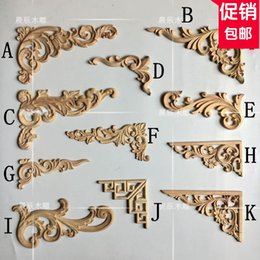 Wholesale Wood Door Decorations - European decoration supplies, wood carved horns decorative doors and table decorations, Roman column carved flowers(A128)