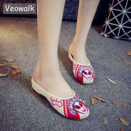 Wholesale Beijing Summer - Veowalk Summer Women Chinese Style Linen Cotton Slippers Woman Old Beijing Opera Embroidery Sandals Shoes Beige Ladies Sandials