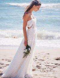 Wholesale Two Piece Dress Boho - Modest Lace Boho Beach Wedding Dress Sexy Backless Elegant Two Piece Long A Line Bohemian Bridal Gowns Country Vestido De Novia Cheap