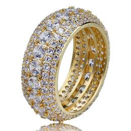 anillo para los dedos macho Rebajas Tamaño 7-12 Hip Hop 5 filas Claro anillo de circonio cúbico Oro Plata Colores Clásico Punk Hombre Anillos de dedo