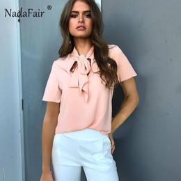 schlichte hemdfarben Rabatt Nadafair Sommer Shirt Frauen Casual Kurzarm Basis Tops Pullover Damen Bogen Blusas Einfarbig T-Shirt 4 Farben T Formale
