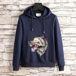 Wholesale Wolf Print Hoodies - 2018 spring fashion designer luxury Brand men long sleeve pullover letter classic embroidery wolf hooded hoodies women sweatshirt