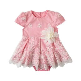 2019 bodysuit della ragazza di compleanno Summer Pink Flower Stampa Cap Sleeve Girls Dress Birthday Party Girls Dress con Body Sweet Girls Suspenders Abito da sposa bodysuit della ragazza di compleanno economici