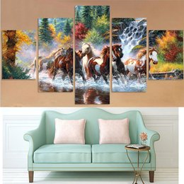 Wholesale Needlework Pictures - 5D DIY Diamond Painting Horse cross river 5 picture combined Diamond Mosaic Cross Stitch Needlework Home Decorative gift DK050